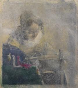 La merlettaia (d'après Vermeer), 2013 matita, pastello e olio su carta, cm 53,5 x 44,5