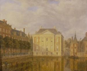 Augustus Wijnantz, Veduta del Mauritshuis, 1830 circa olio su tavola, cm 22,5 x 27,5